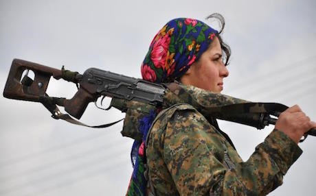 Israelis have become captivated by the YPJ's female fighters. AFP photo.