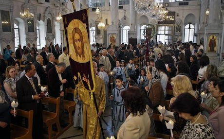 Syrian Orthodox Christians attend Easter mass in Damascus.  April 2012.  Photo AP.