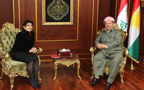 Kurdish MP from Diyarbakir Leyla Zana (L) with Kurdistan Region President Massoud Barzani in Erbil. Photo: KRP.org