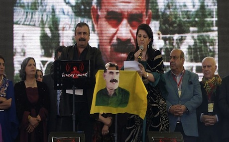 Kurdish politician Pervin Buldan (right) reads Abdullah Ocalan's message to a crowd of hundreds of thousands in Diyarbakir. Photo: AFP
