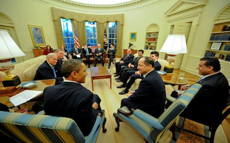 Kurdistan Region President Massoud Barzani and his high-level delegation meet with US President Barack Obama during a visit to Washington DC, 2011. Photo: KRG foreign relations department