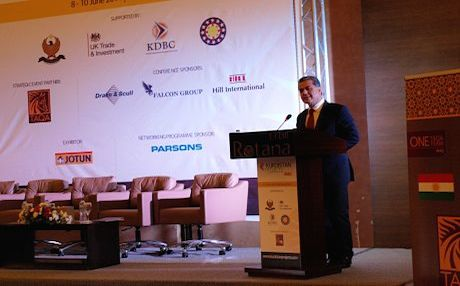KRG Foreign Relations Minister Falah Mustafa Bakir speaking at the conference. Photo: Judit Neurink