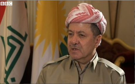 Kurdistan Region President Massoud Barzani speaking to the BBC.