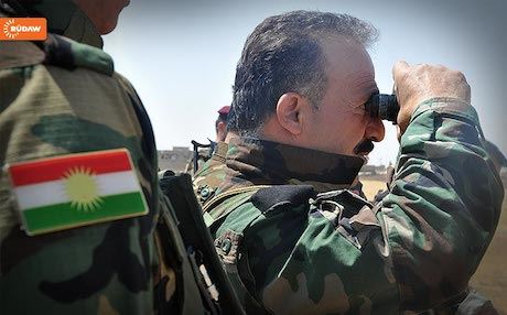 Kurdish Peshmerga officers guarding the frontline on the outskirts of Mosul. Photo: Rudaw