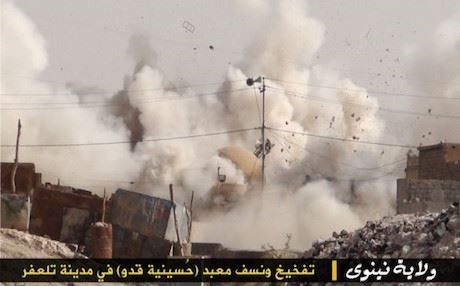 ISIS picture of the demolition of a Shiite mosque in Tal Afar.